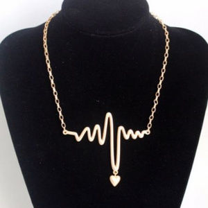 Gold EKG Heartbeat Penant w/Heart Charm Necklace